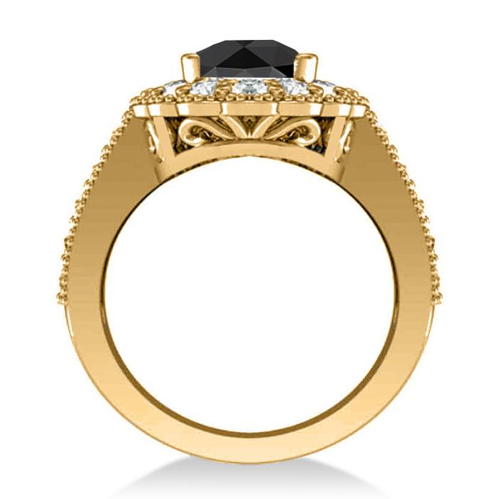 Black Diamond & Diamond Oval Halo Engagement Ring 14k Yellow Gold (2.78ct)