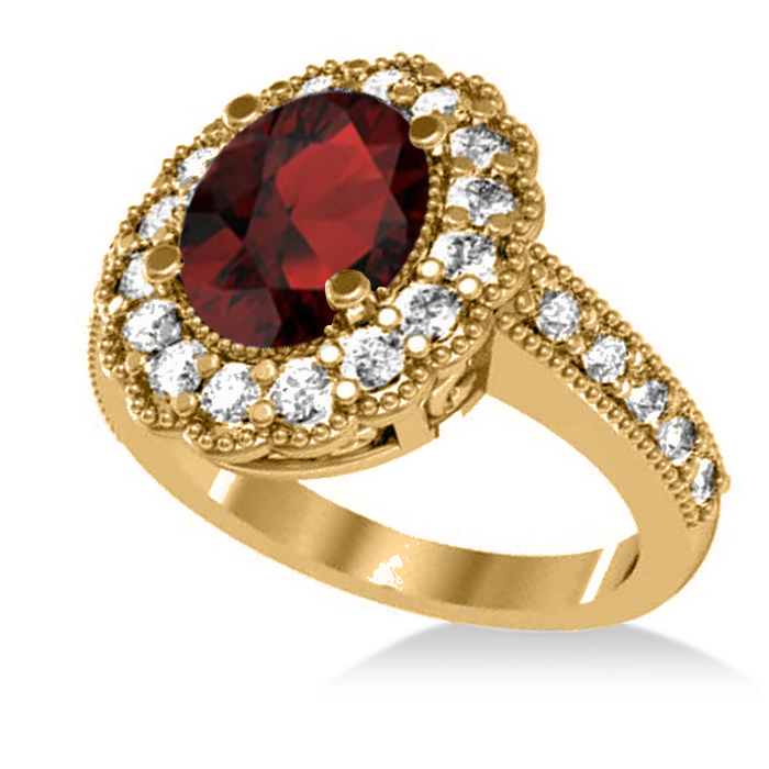 garnet oval halo engagement ring 14k yellow gold
