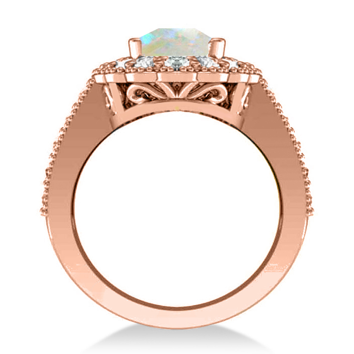 Opal & Diamond Oval Halo Engagement Ring 14k Rose Gold (3.28ct)