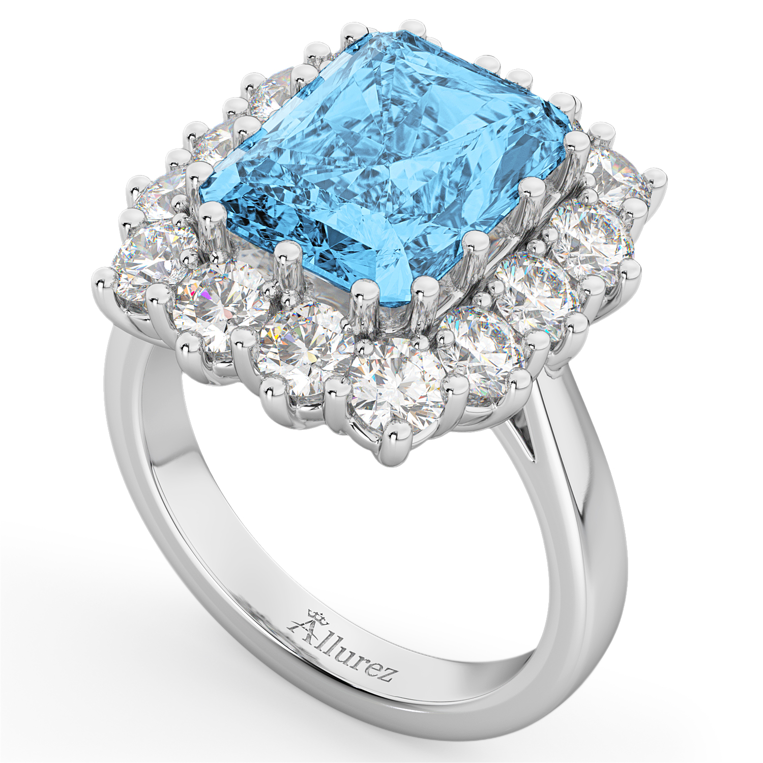 Emerald Cut Blue Topaz & Diamond Lady Di Ring 14k White Gold 5 68ct