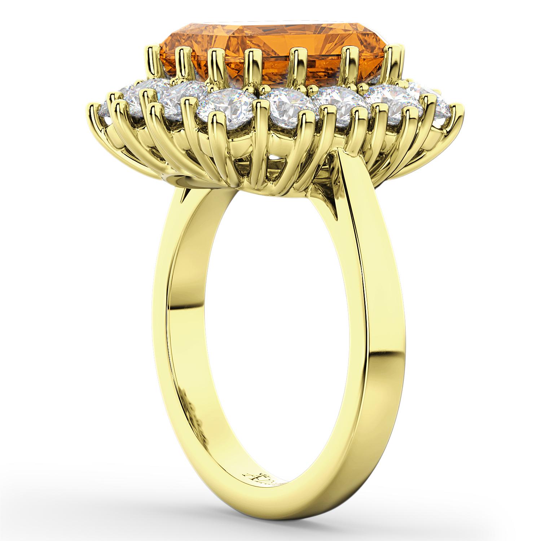 Emerald Cut Citrine Diamond Lady Di Ring 14k Yellow Gold 568ct