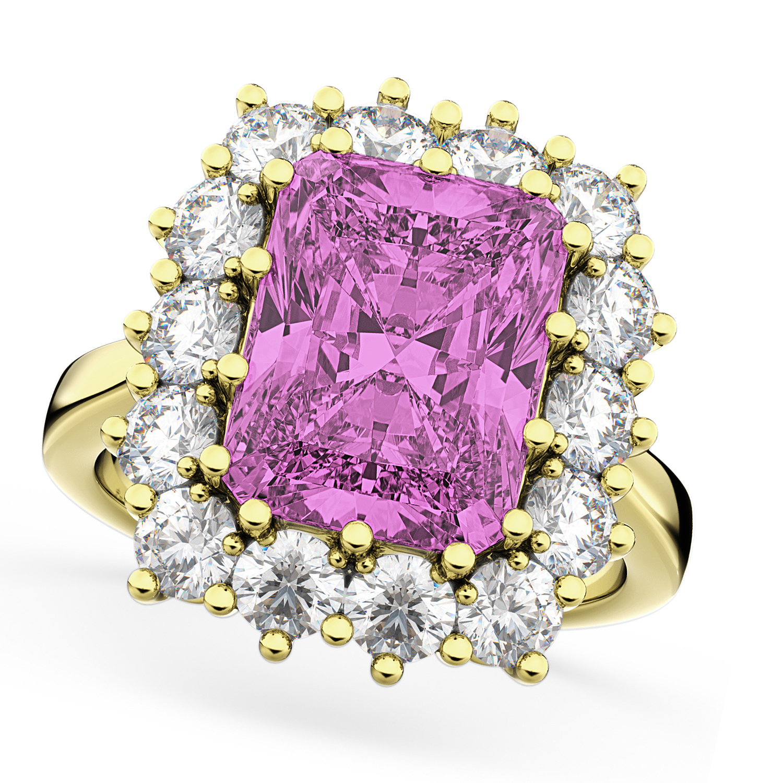 Pink Sapphire & Diamond Lady Di Ring 18k Yellow Gold 5.68ct - Allurez