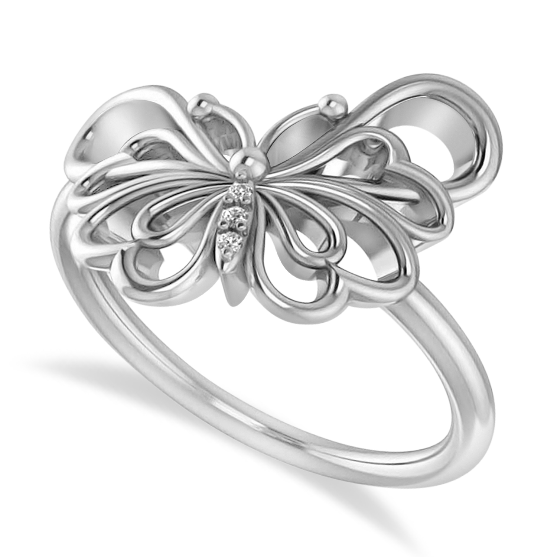 Diamond Butterfly Fashion Ring 14k White Gold (0.02ct)