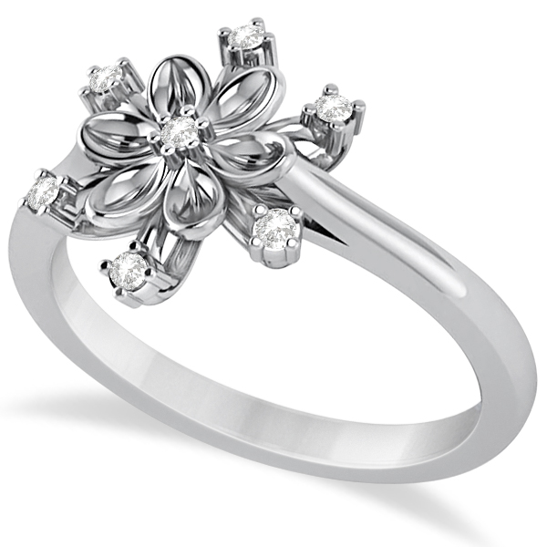 Small Diamond Snowflake Shaped Fashion Ring 14k White Gold (0.10ctw)