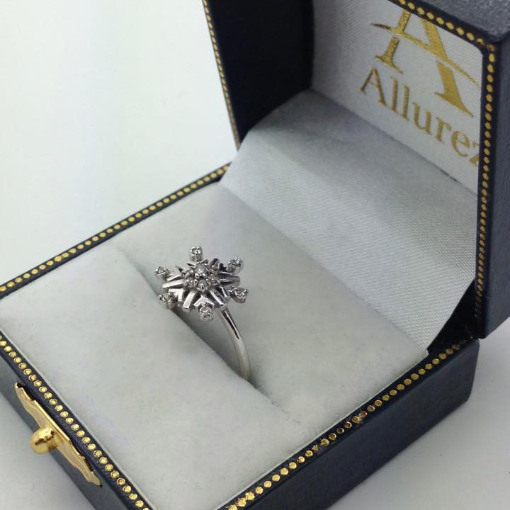 Large Diamond Snowflake Shaped Fashion Ring 14k White Gold (0.20ctw)