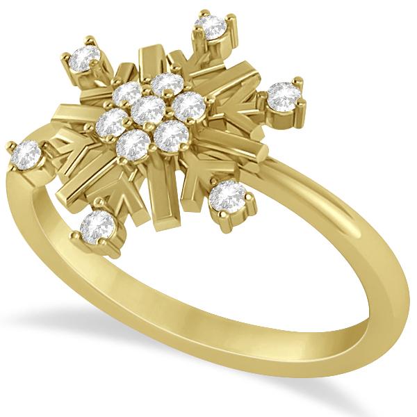 Large Diamond Snowflake Shaped Fashion Ring 14k Yellow Gold (0.20ctw)