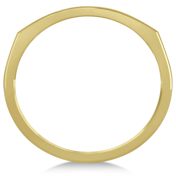 Curved Sideways Cross Ring for Women 14K Yellow Gold