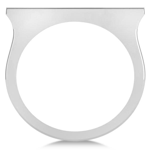Straight Sideways Cross Ring for Women 14K White Gold