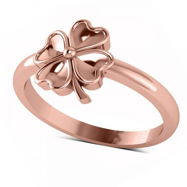Heart Clover Fashion Ring in Plain Metal 14k Rose Gold