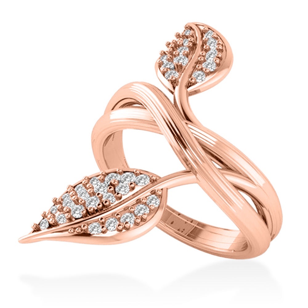Diamond Accented Leaf Ring 14k Rose Gold (0.35ct)