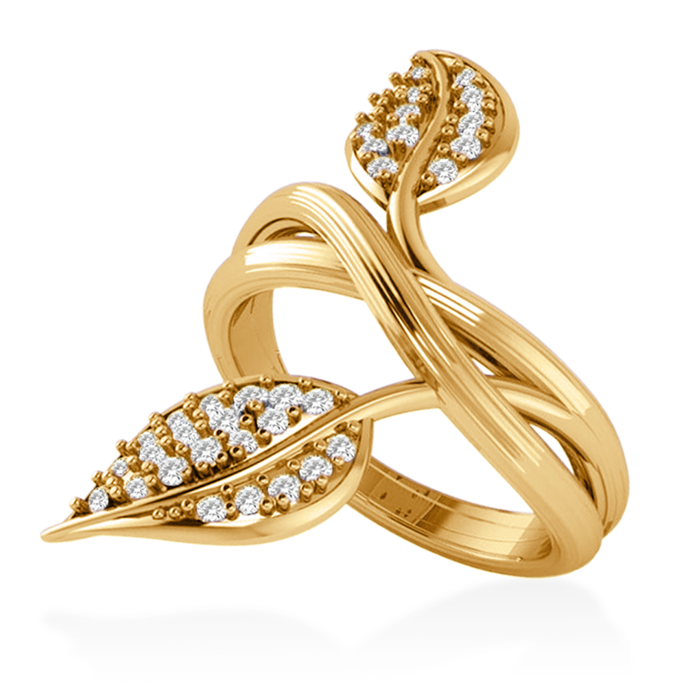 Diamond Accented Leaf Ring 14k Yellow Gold (0.35ct)