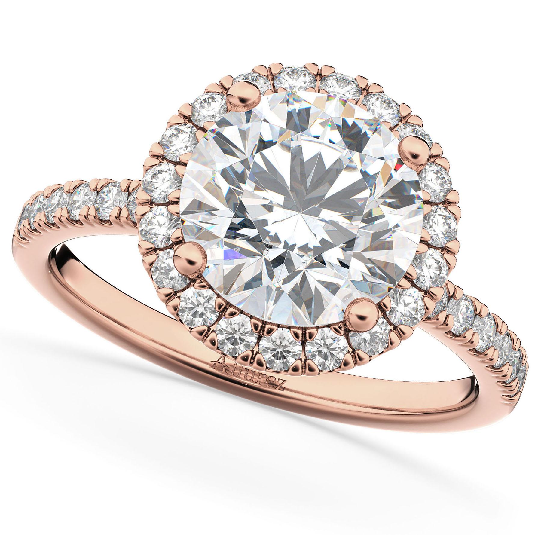 Round Halo Diamond Engagement Ring 14K Rose Gold (2.50ct)
