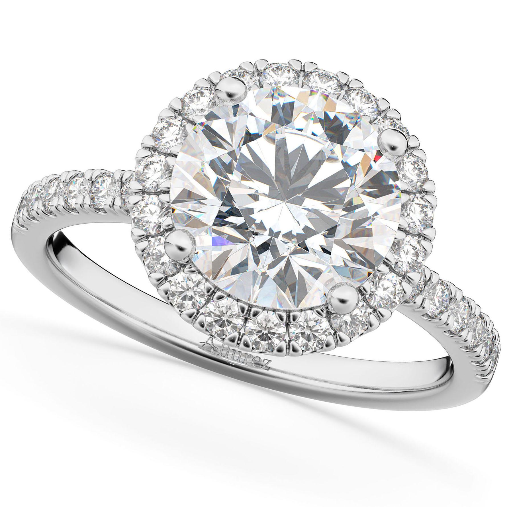 Round Halo Diamond Engagement Ring 18K White Gold (2.50ct)