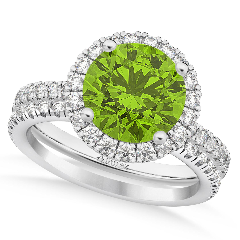 Peridot & Diamond Round-Cut Halo Curved Bridal Set 14K White Gold (2.77ct)