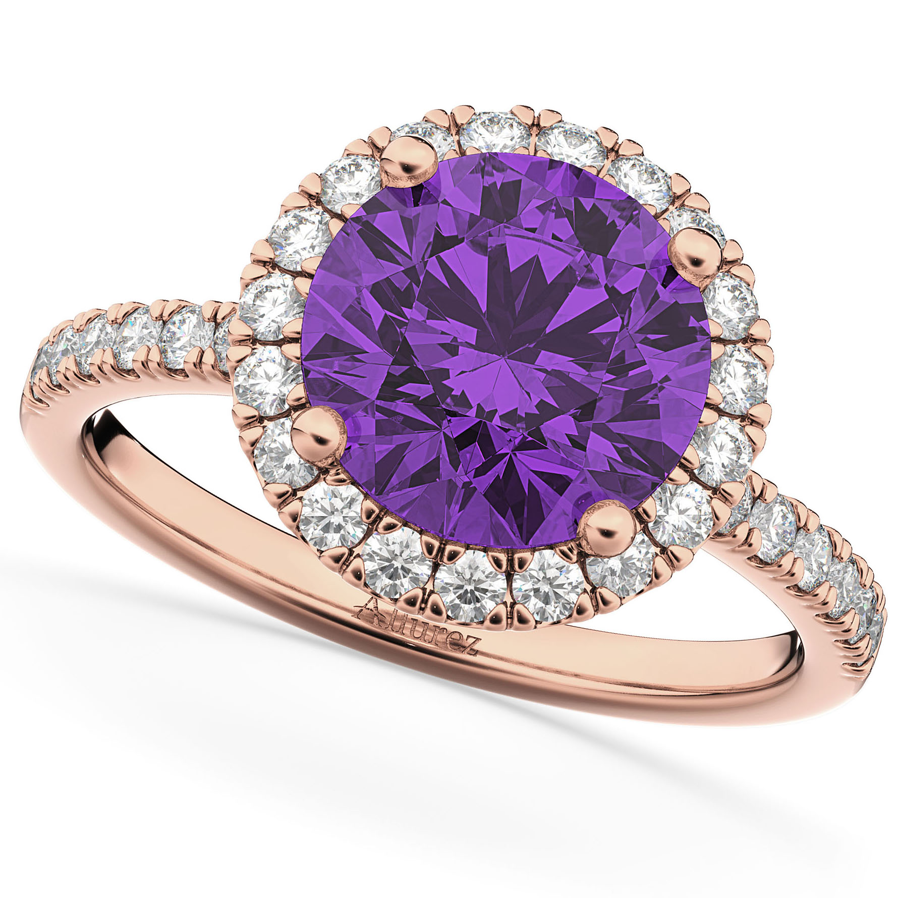 Halo Amethyst & Diamond Engagement Ring 14K Rose Gold 2.30ct
