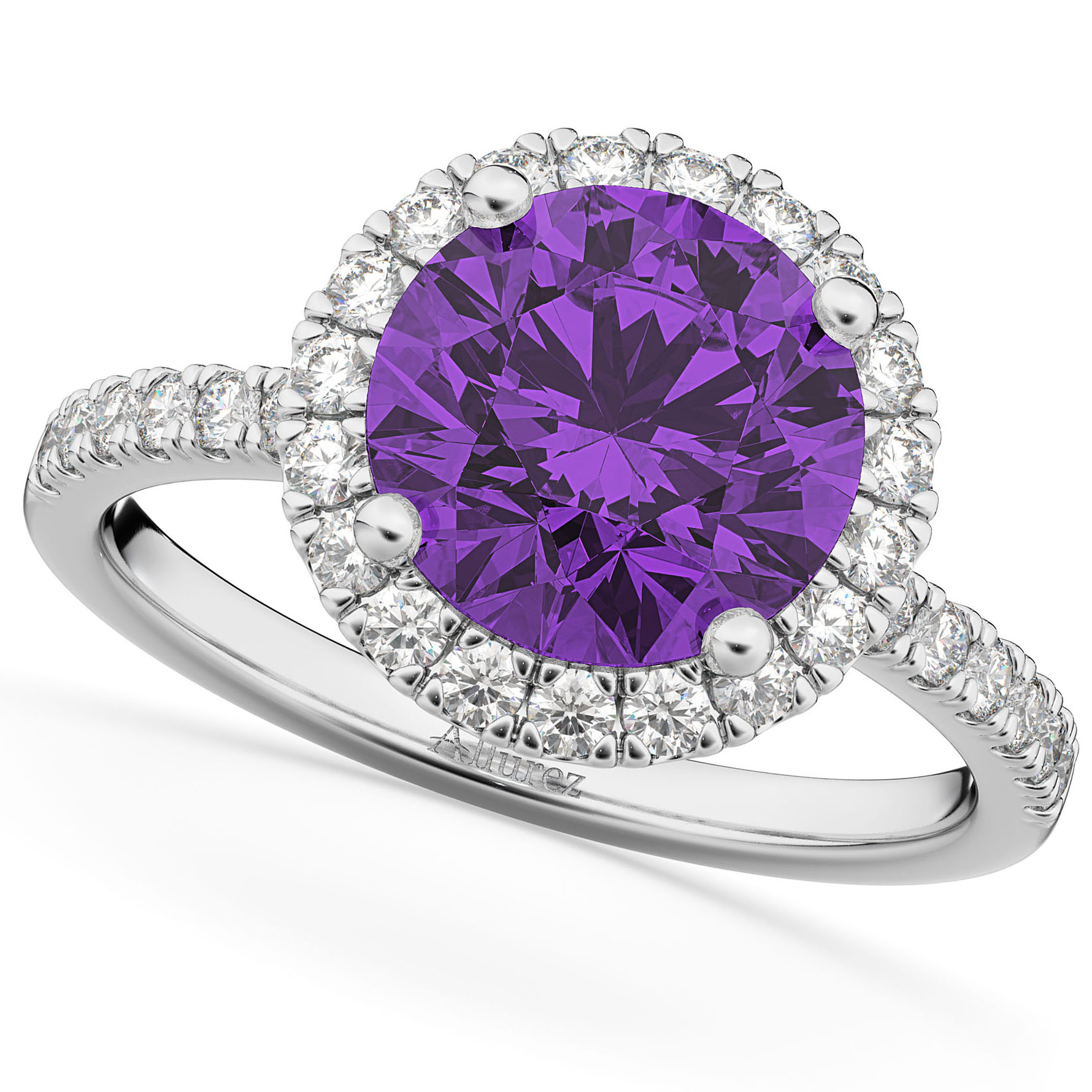 Halo Amethyst & Diamond Engagement Ring 14K White Gold 2.30ct