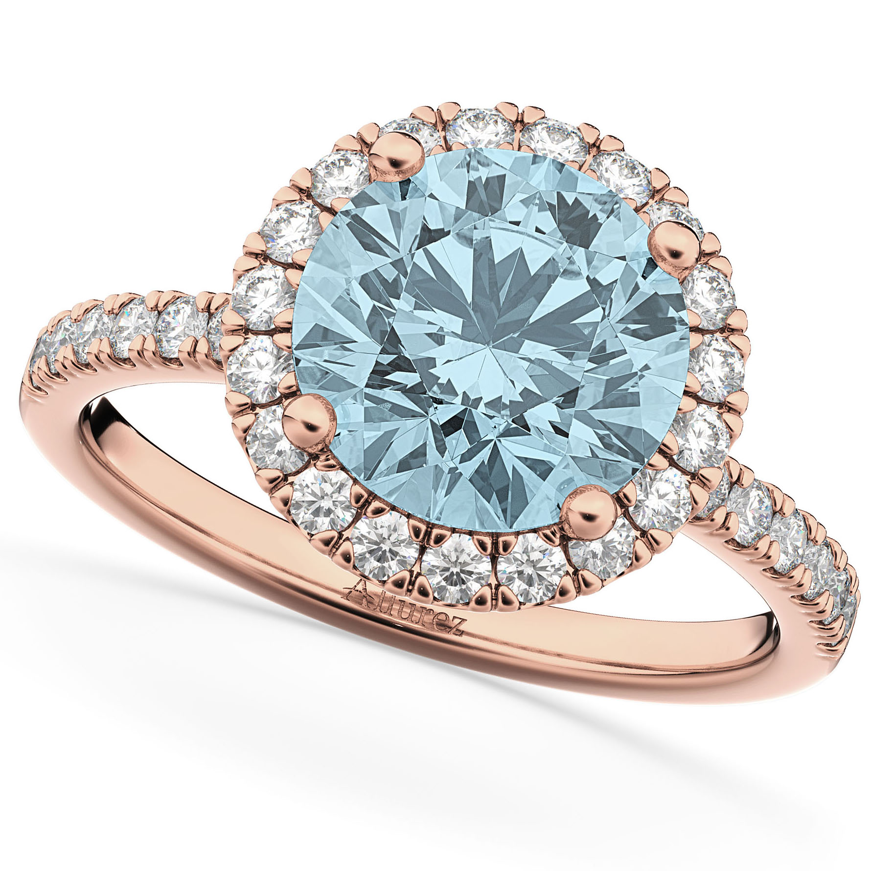 Halo Aquamarine & Diamond Engagement Ring 14K Rose Gold 2.70ct