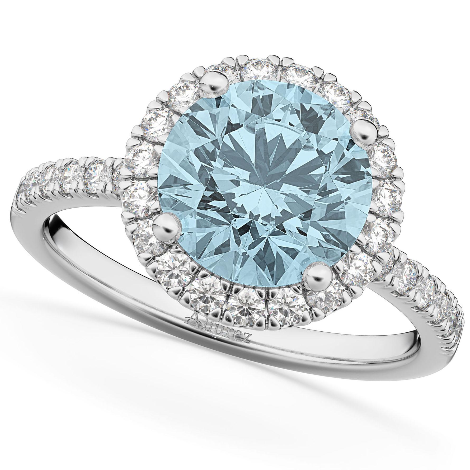 Halo Aquamarine & Diamond Engagement Ring 18K White Gold 2.70ct