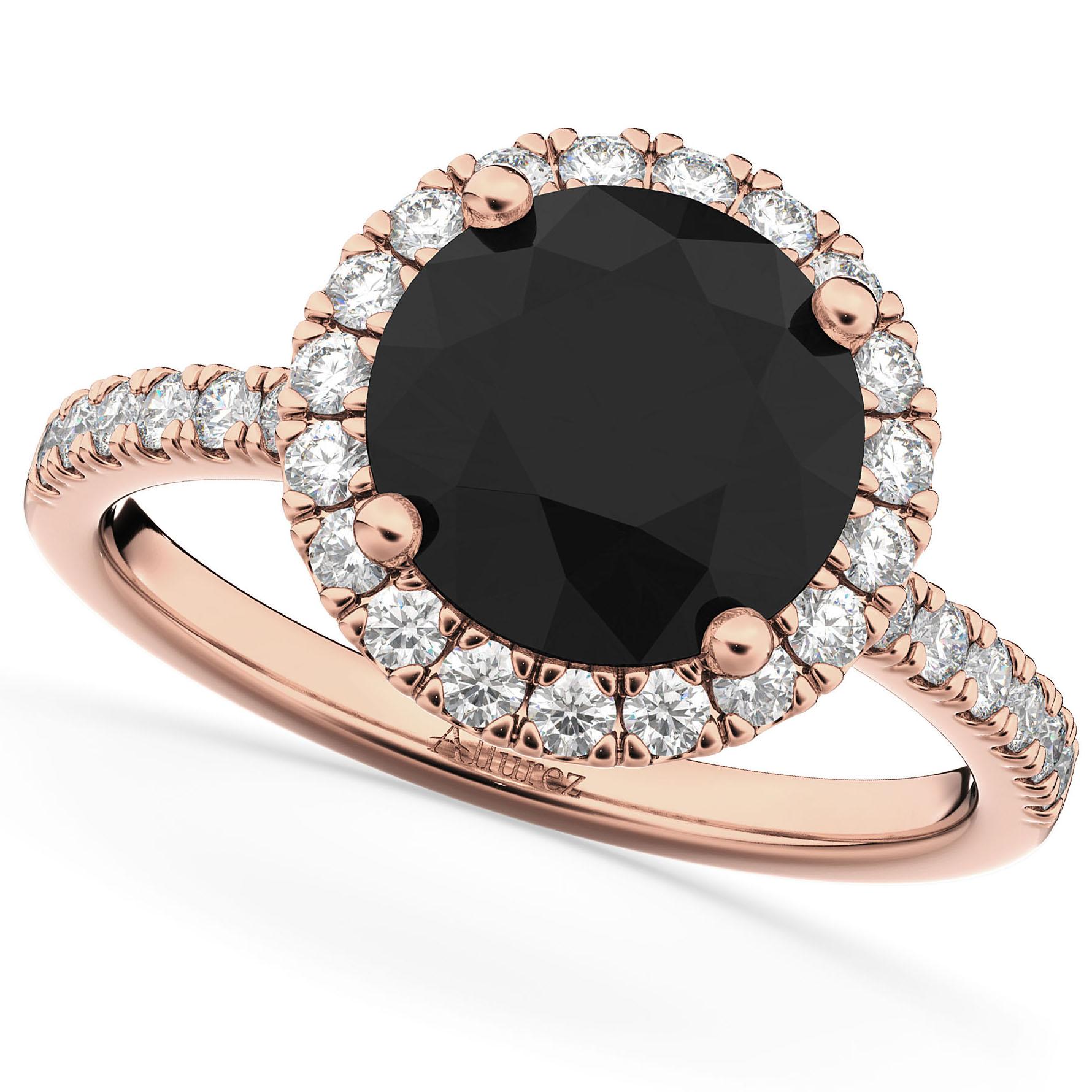 Halo White & Black Diamond Engagement Ring 18K Rose Gold (2.50ct)