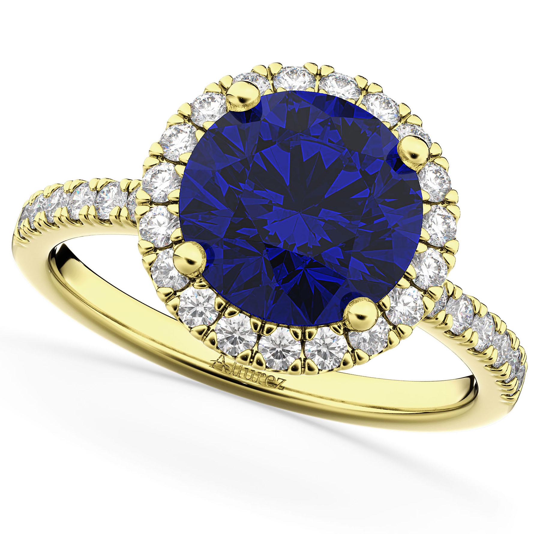 Halo Blue Sapphire & Diamond Engagement Ring 14K Yellow Gold 2.80ct
