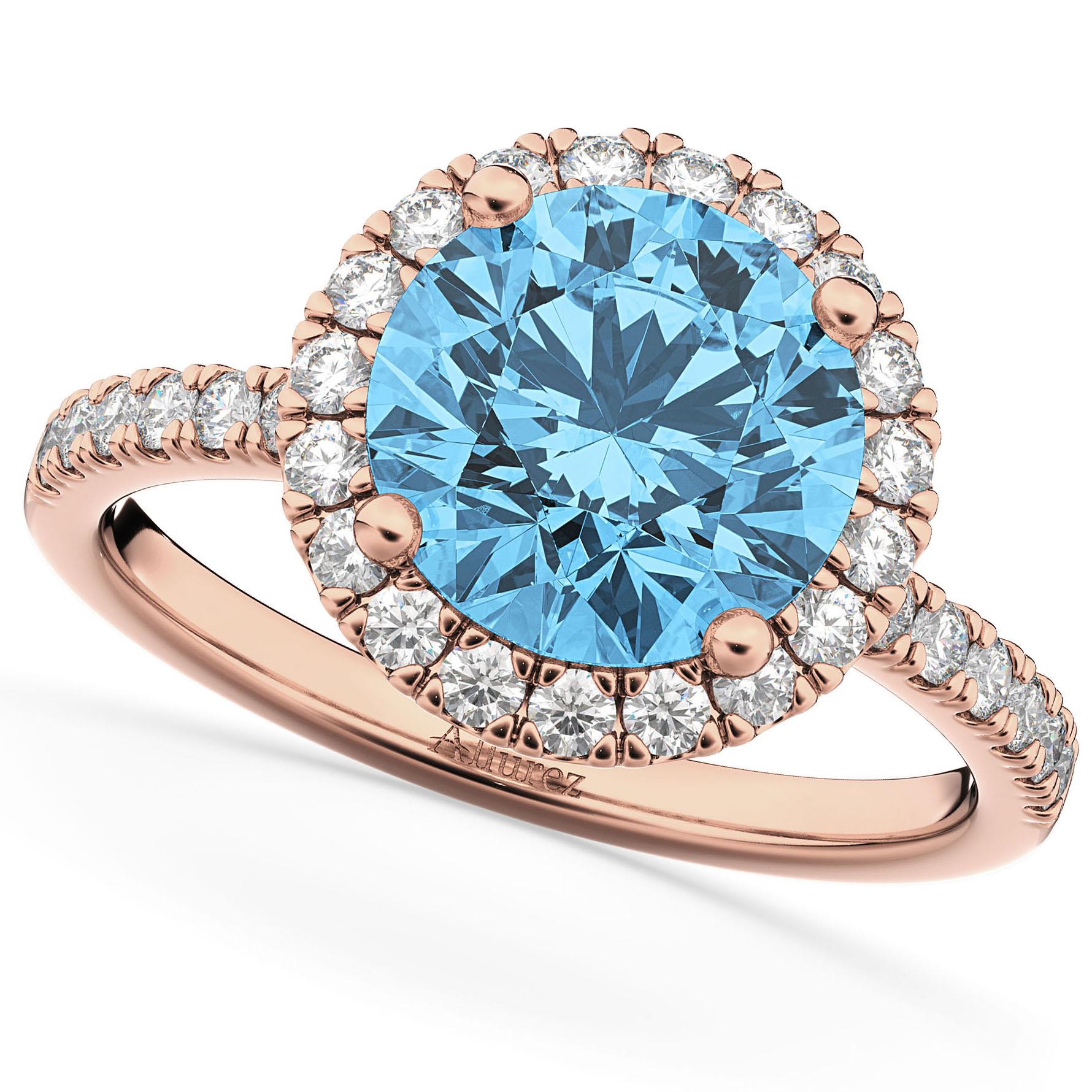 Halo Blue Topaz & Diamond Engagement Ring 14K Rose Gold 3.00ct