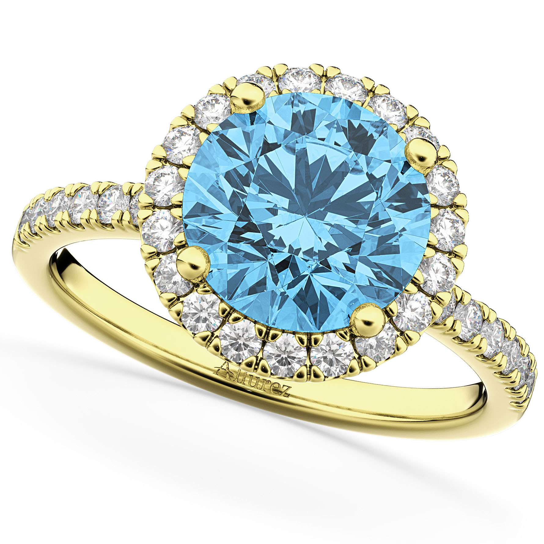 Halo Blue Topaz & Diamond Engagement Ring 14K Yellow Gold 3.00ct