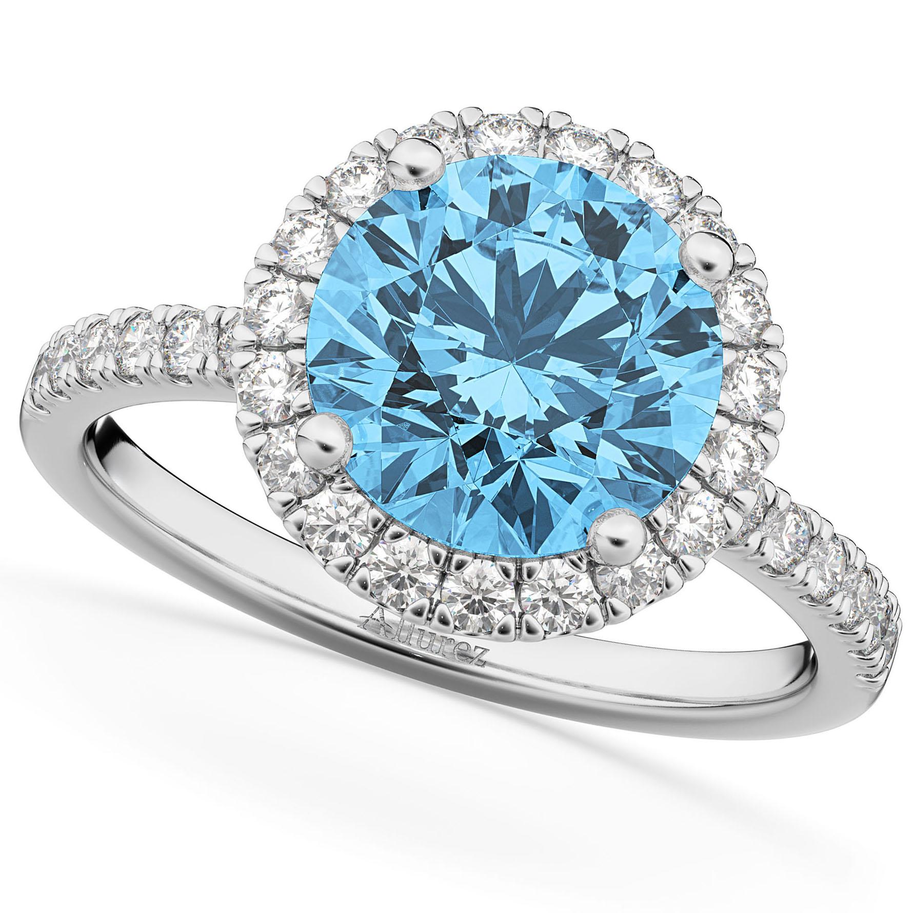 Halo Blue Topaz & Diamond Engagement Ring Platinum 3.00ct