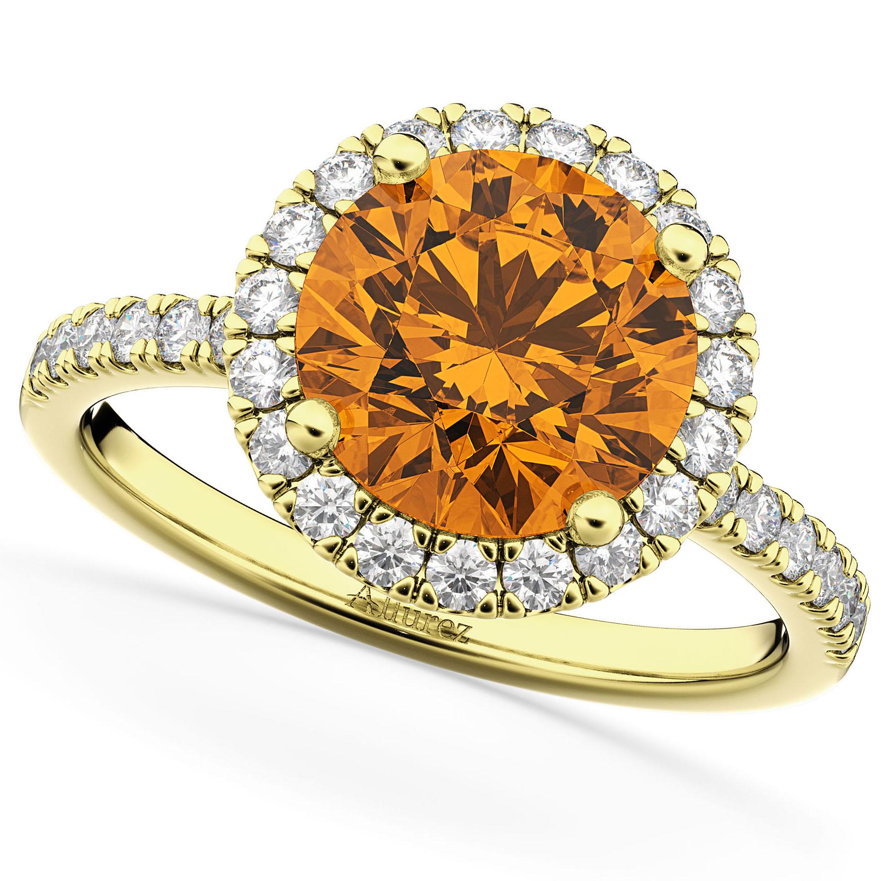 Halo Citrine & Diamond Engagement Ring 14K Yellow Gold 2.30ct
