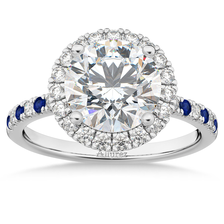 Blue Sapphire & Diamond Halo Engagement Ring Setting 18k White Gold (0.50ct)