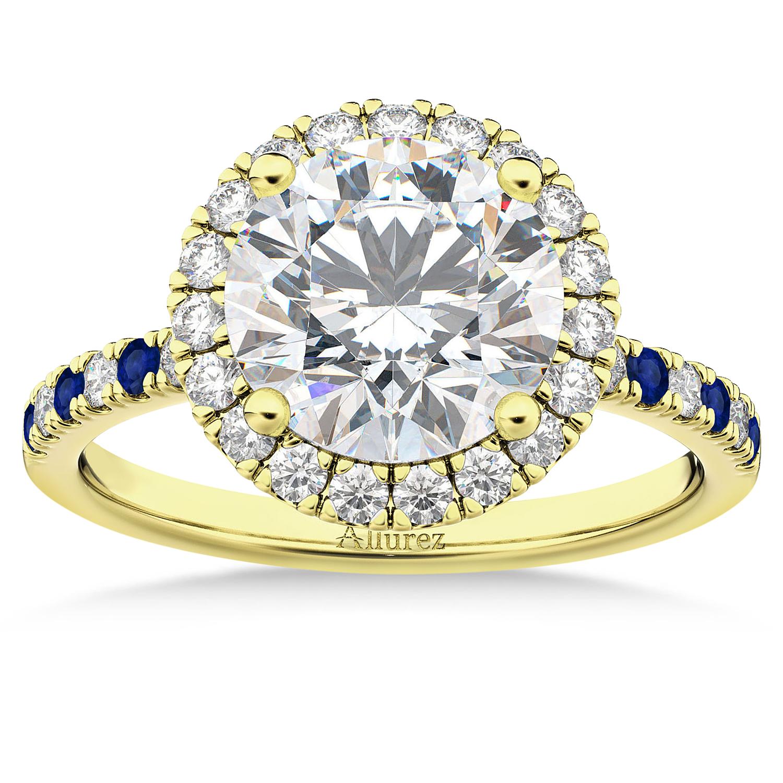 Blue Sapphire & Diamond Halo Engagement Ring Setting 18k Yellow Gold (0.50ct)