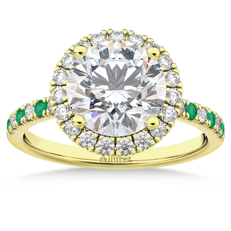 Emerald & Diamond Halo Engagement Ring Setting 18k Yellow Gold (0.50ct)