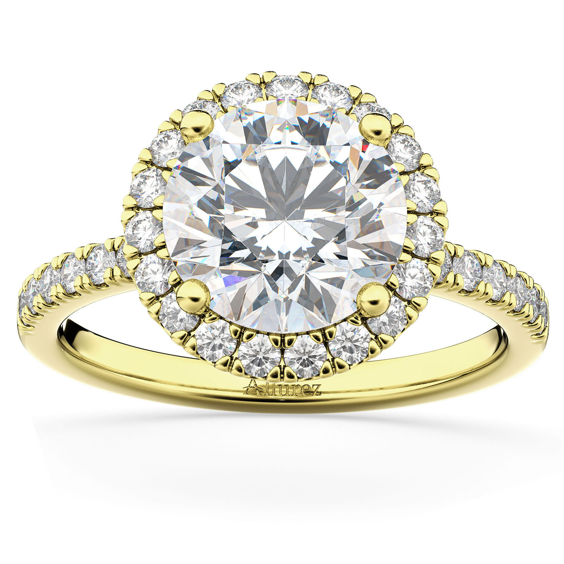 Lab Grown Diamond Accented Halo Engagement Ring Setting 18k Yellow Gold (0.50ct)