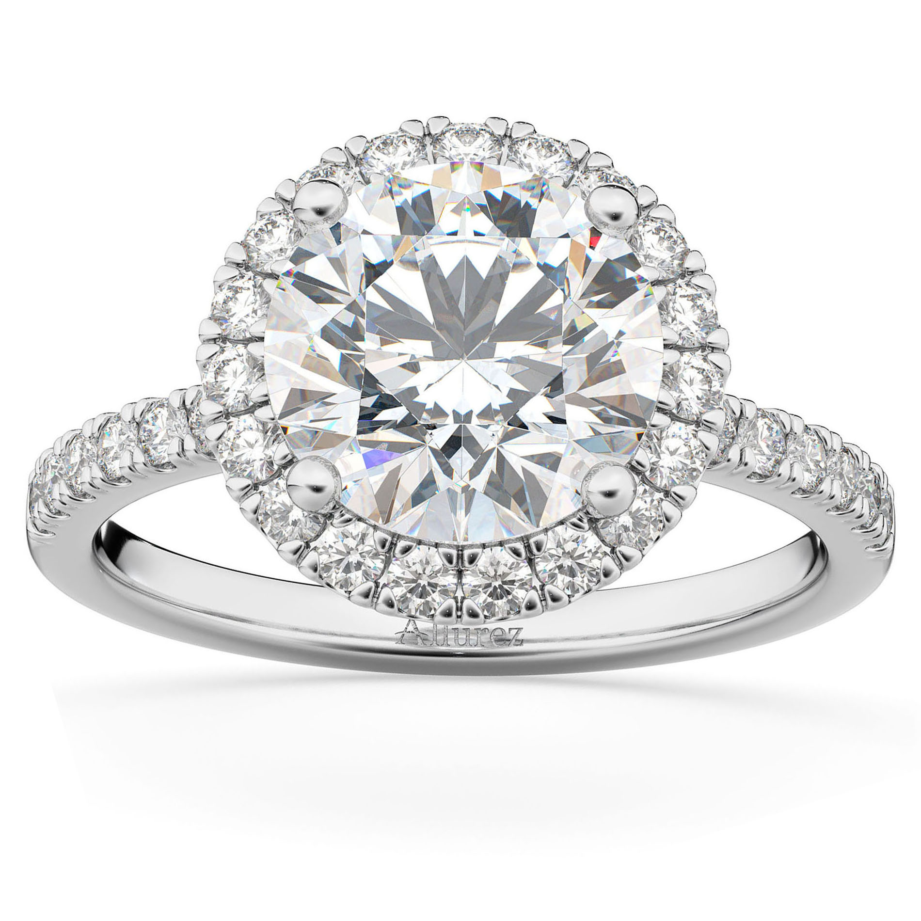 Diamond Accented Halo Engagement Ring Setting Palladium (0.50ct)