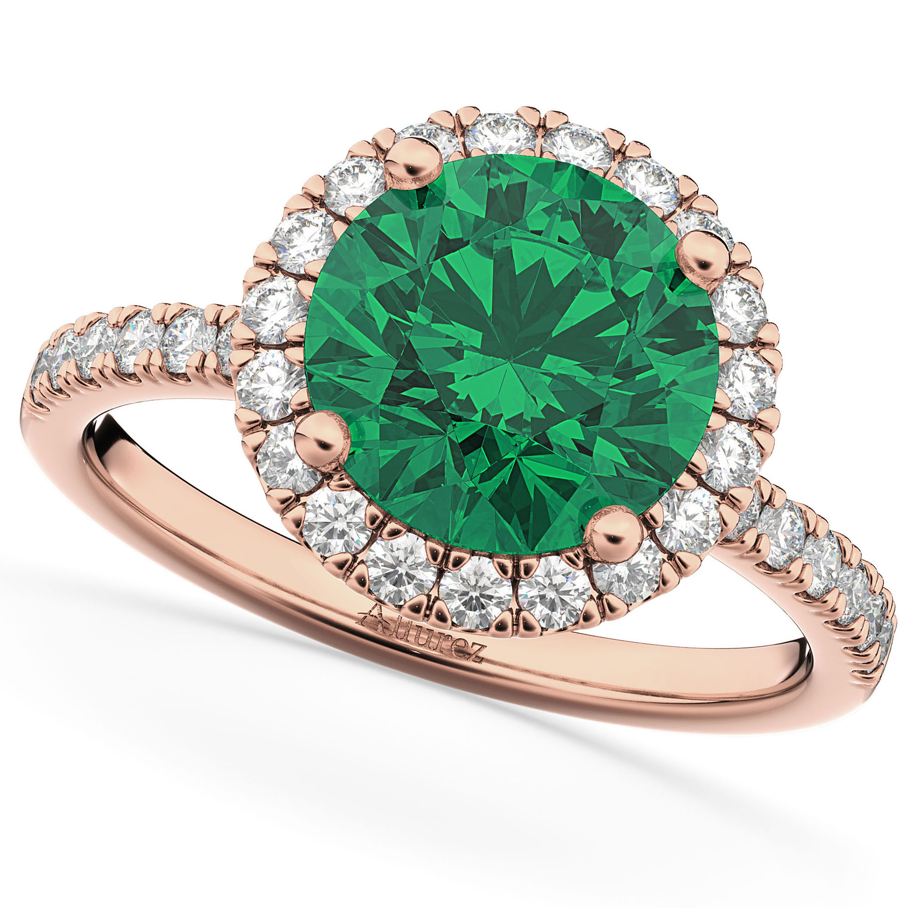 Halo Emerald & Diamond Engagement Ring 14K Rose Gold 2.80ct