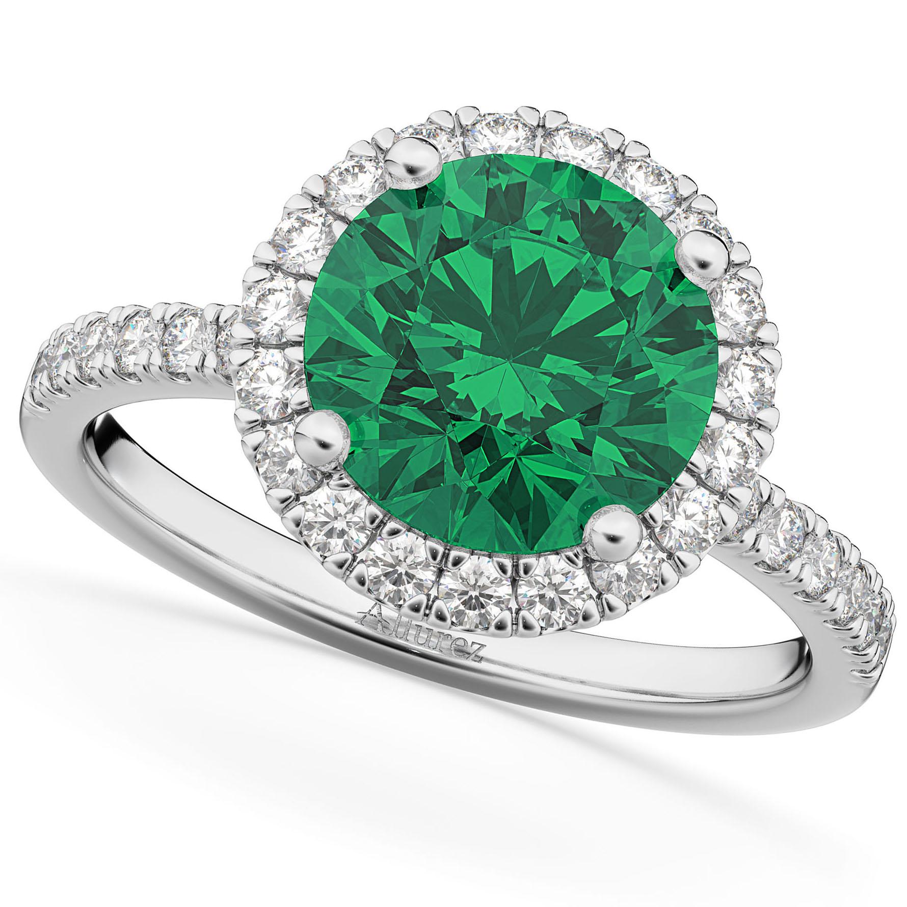 Halo Emerald & Diamond Engagement Ring 14K White Gold 2.80ct