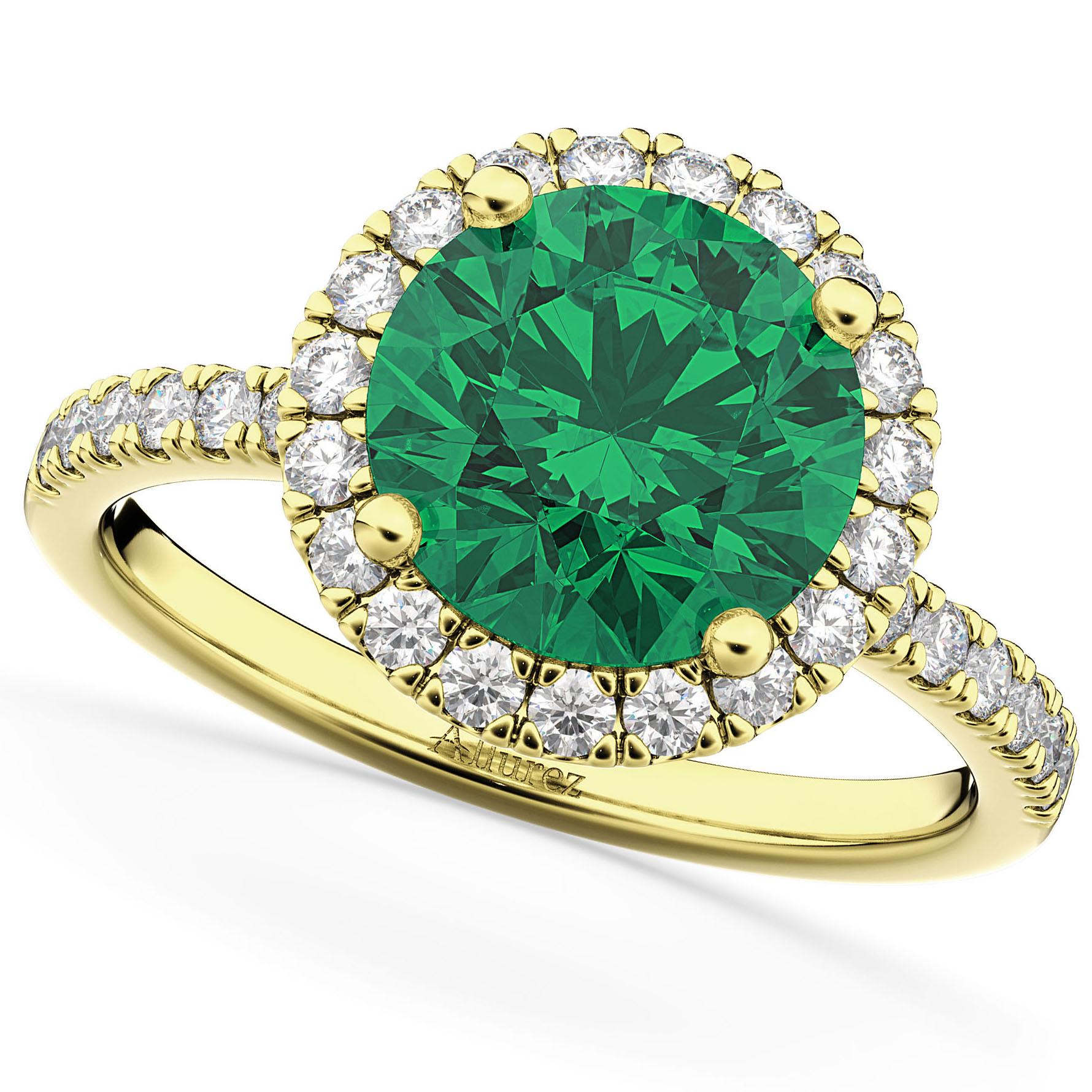 Halo Emerald & Diamond Engagement Ring 14K Yellow Gold 2.80ct
