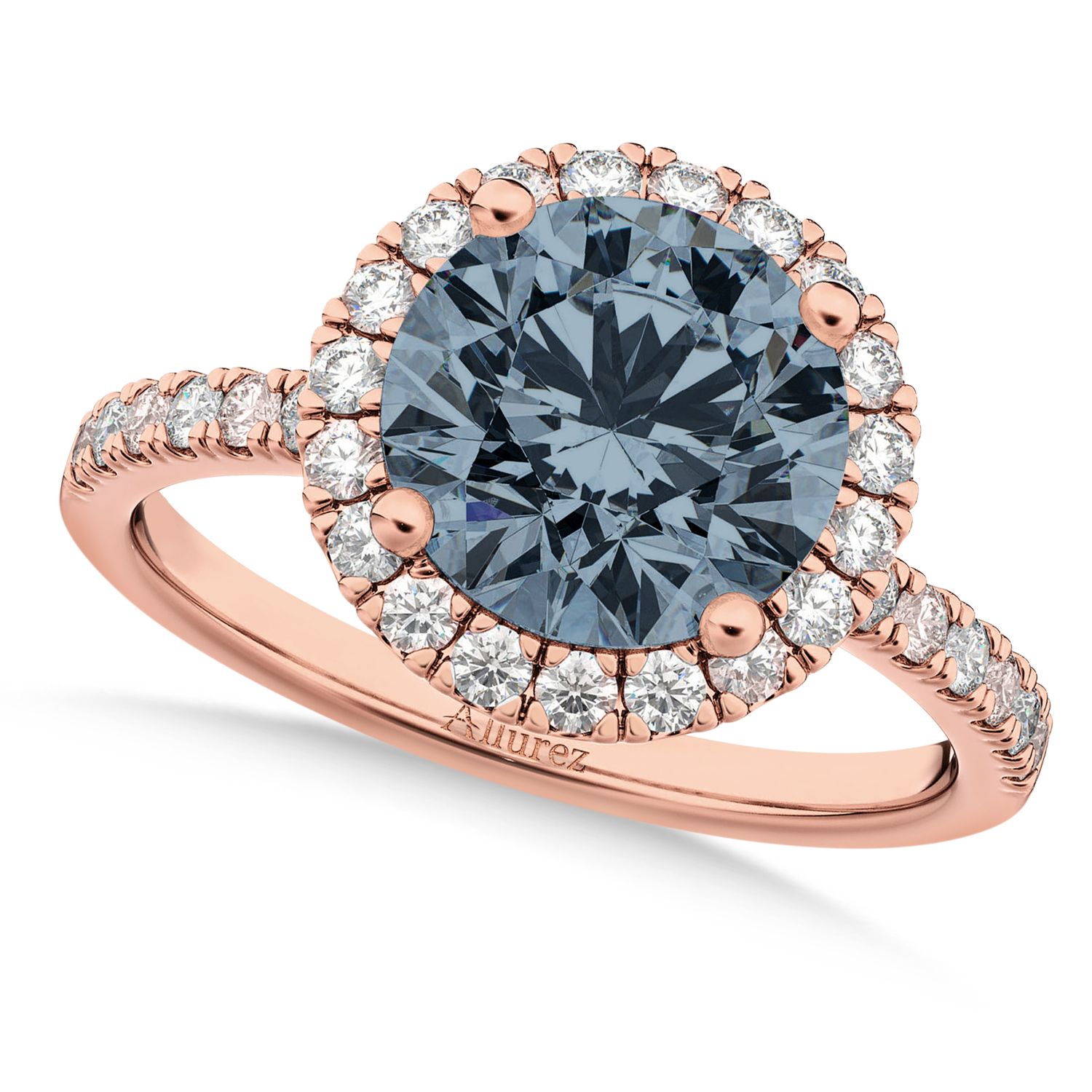 Halo Gray Spinel & Diamond Engagement Ring 18K Rose Gold 1.90ct