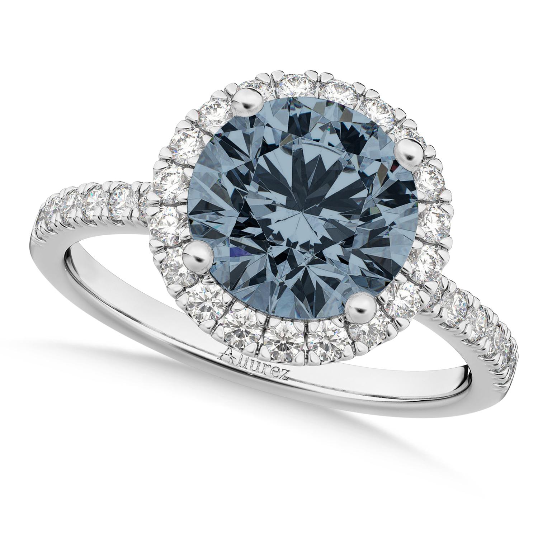 Halo Gray Spinel & Diamond Engagement Ring Platinum 1.90ct