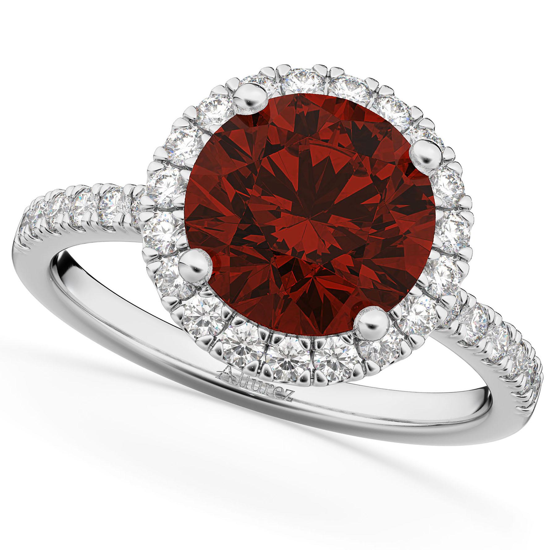 Halo Garnet & Diamond Engagement Ring 14K White Gold 3.00ct