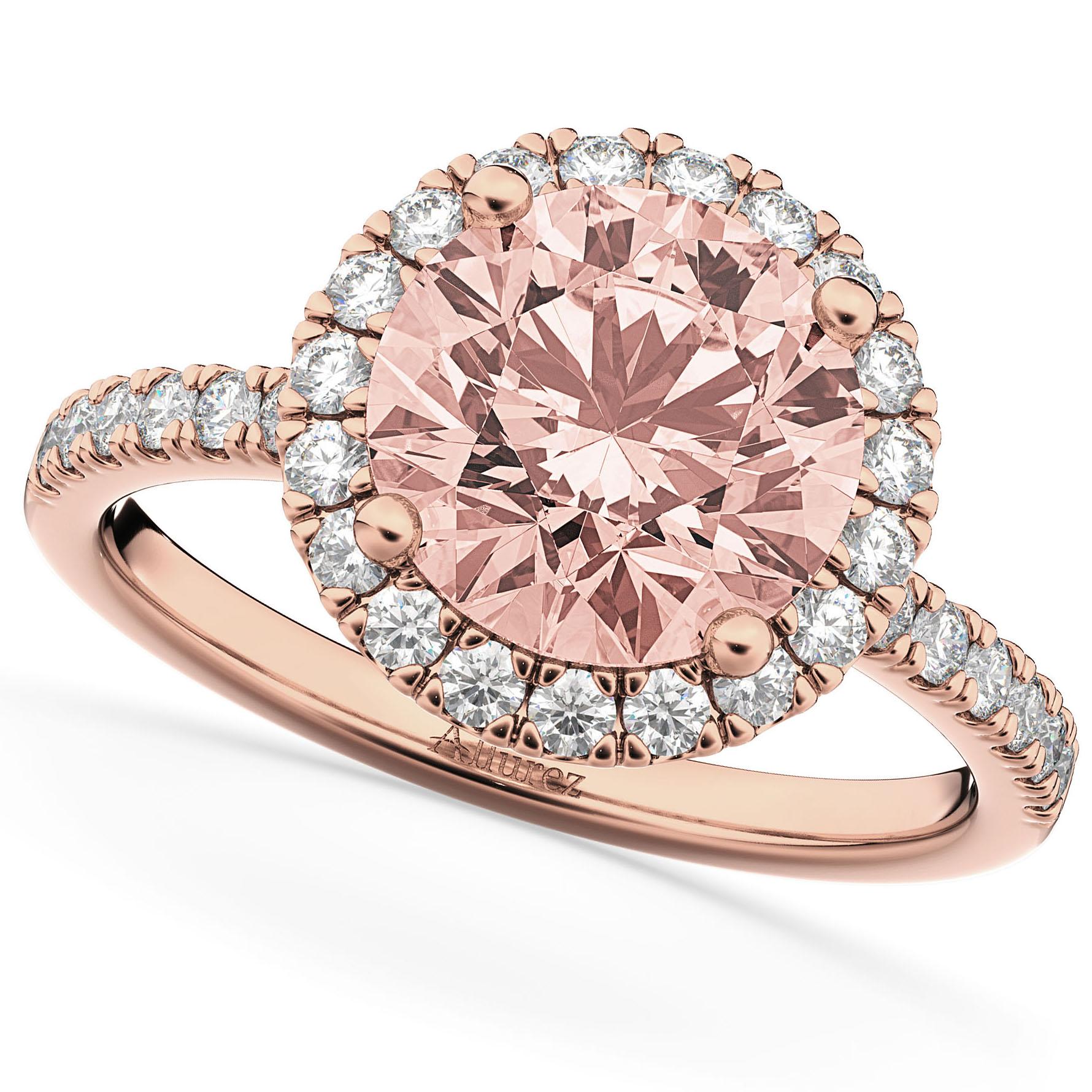 Halo Morganite & Diamond Engagement Ring 18K Rose Gold 2.25ct