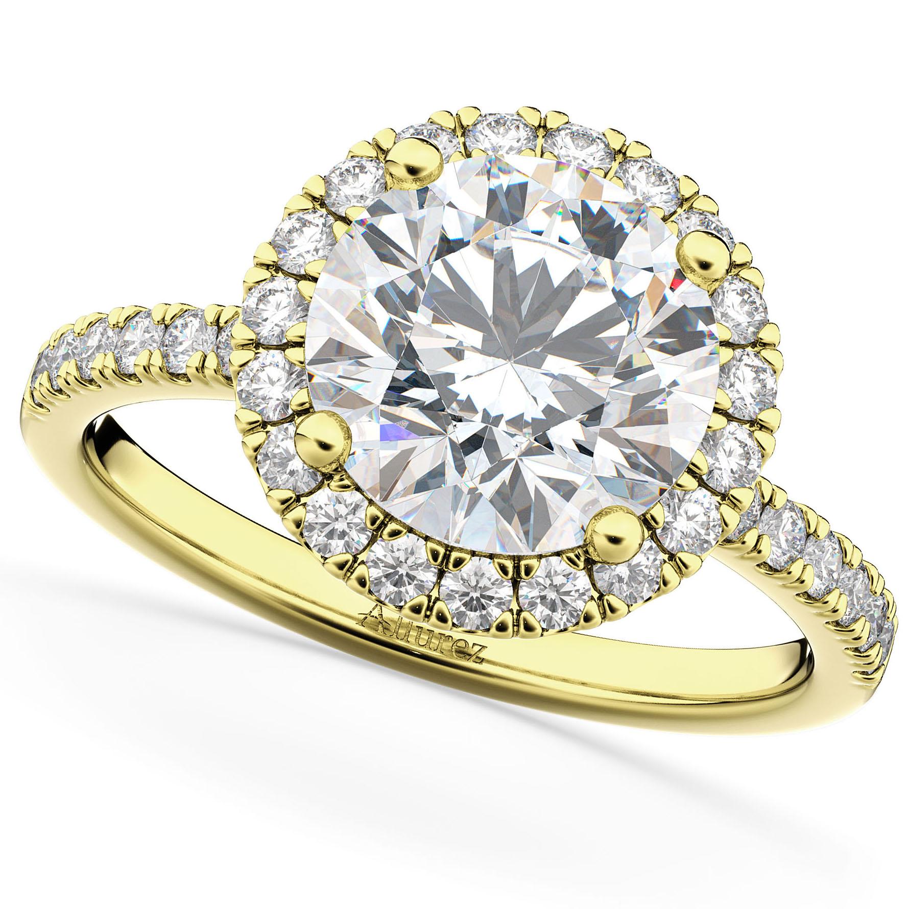 Halo Moissanite & Diamond Engagement Ring 18K Yellow Gold 2.10ct