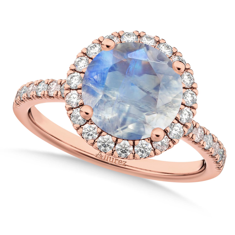 Halo Moonstone & Diamond Engagement Ring 18K Rose Gold 2.90ct