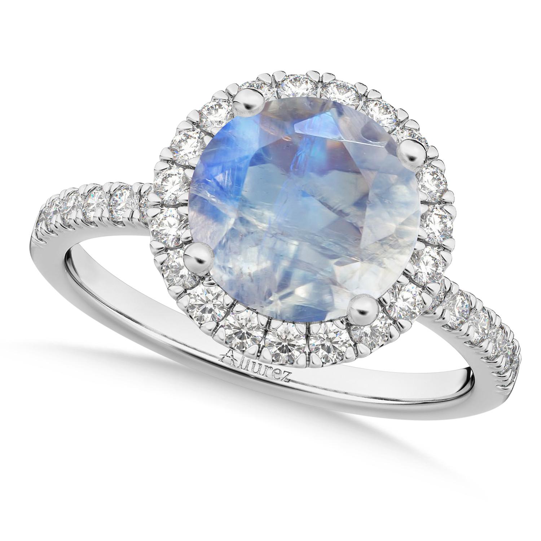 Halo Moonstone & Diamond Engagement Ring Palladium 2.90ct