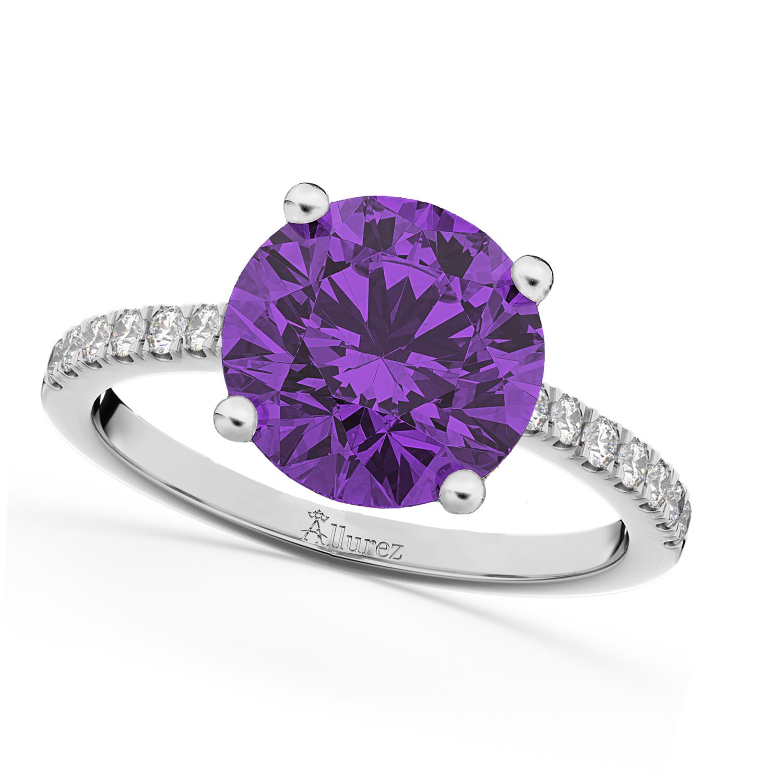 Amethyst & Diamond Engagement Ring 18K White Gold 2.01ct