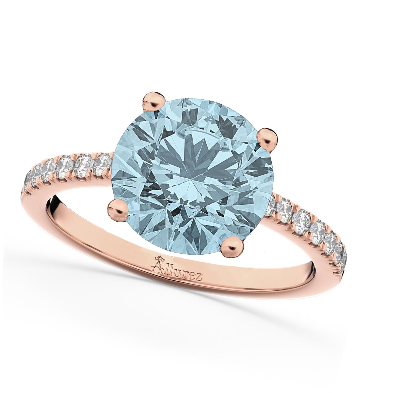 Aquamarine & Diamond Engagement Ring 18K Rose Gold 2.41ct