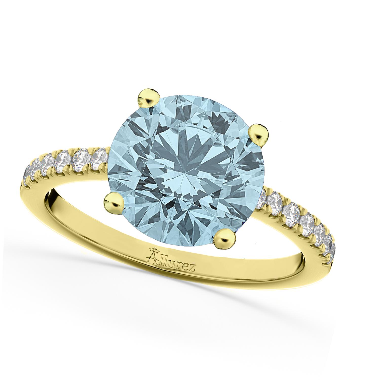 Aquamarine & Diamond Engagement Ring 18K Yellow Gold 2.41ct