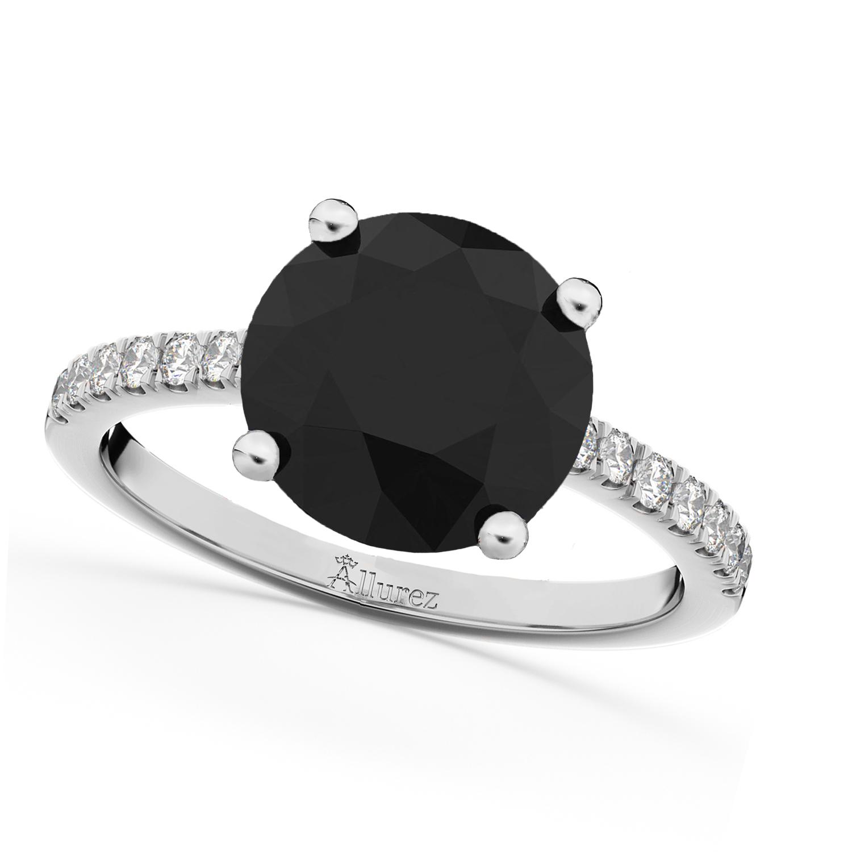 White & Black Diamond Engagement Ring Palladium (2.21ct)