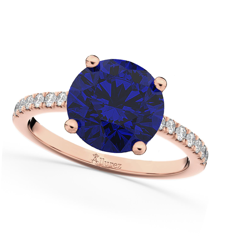 Blue Sapphire & Diamond Engagement Ring 18K Rose Gold 2.51ct