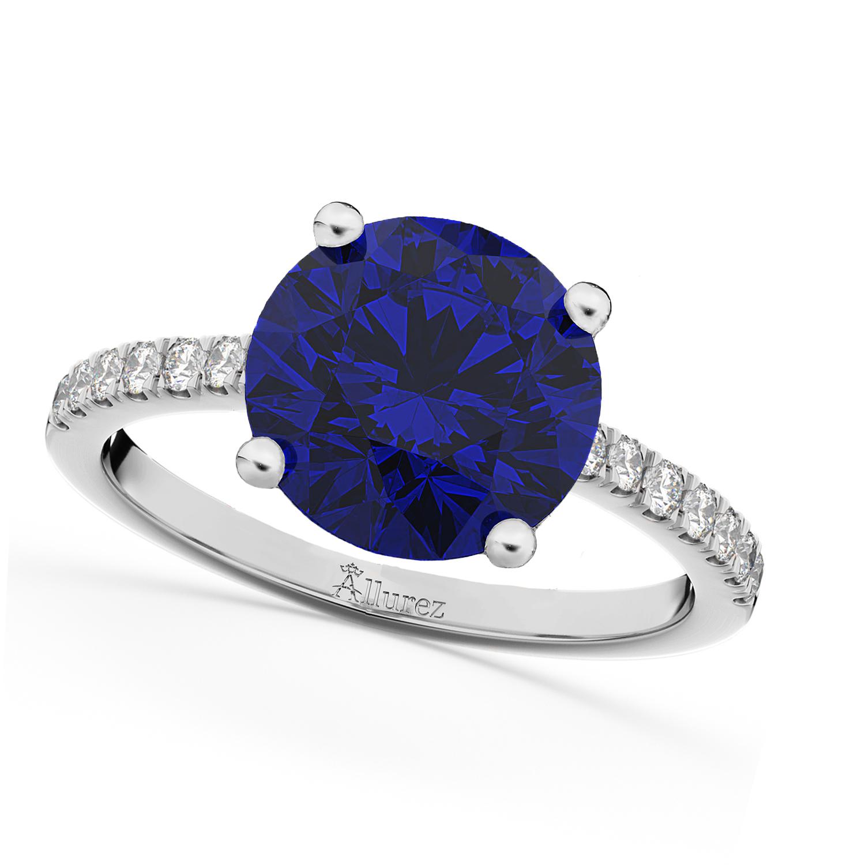 Blue Sapphire & Diamond Engagement Ring 18K White Gold 2.51ct