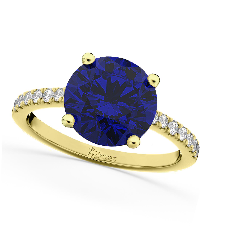 Blue Sapphire & Diamond Engagement Ring 18K Yellow Gold 2.51ct